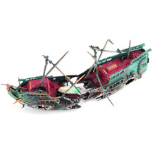 Large Aquarium Decoration Boat Plactic Aquarium Ship Air Split Shipwreck Fish Tank Decor Wreck Sunk