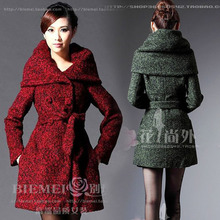 Pop New Nice Autumn Winter New Thickening Wool Coats women's Europe And America Long Big Yards Woolen Outerwear Jackets S1585