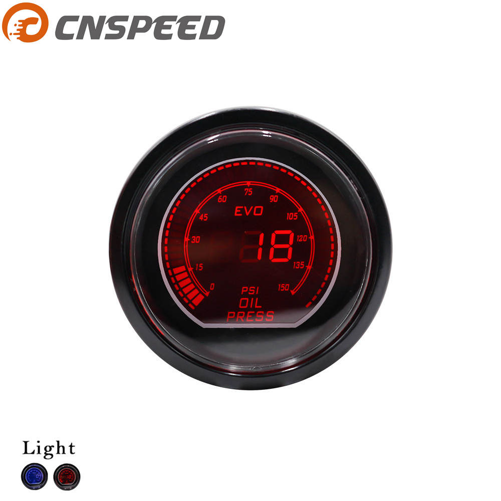 CNSPEED Oil press gauge 52mm 2inch EVO LCD Red/Blue Led 0-150 PSI Oil Pressure Gauge With Sensor Smoke Lens Car meter YC101033 cnspeed 252mm 12v car auto oil press gauge 0 7bar oil pressure guage with sensor smoke lens racing white led car pressure meter