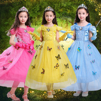 Girls Dresses 2017 Sweet Princess Dress Children Snow Princess Dresses Rapunzel Aurora Party Halloween Costume Brand