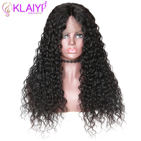 Klaiyi Hair Human Hair Wigs Curly Wig 10 24 Inch Brazilian Remy Hair 360 Half Lace Wig #1#2 #4 Natural Color 150 180% Density