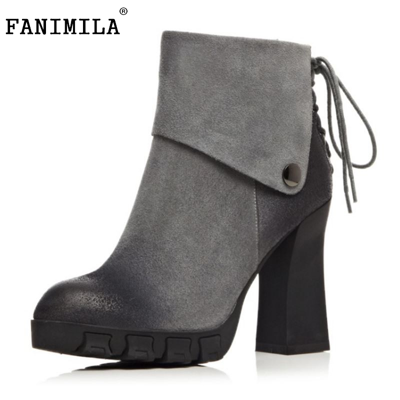 ФОТО Women Thick Heel Real Leather Ankle Short Boots Woman New Design Vintage Round Toe Zipper Botines Mujer Size 33-42