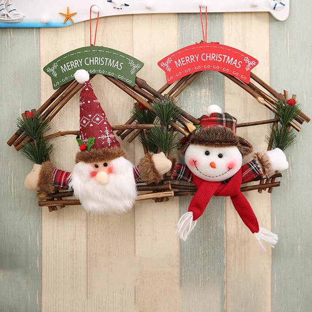 front door fireplace christmas wreath garland decoration with santa claus snowman ornaments natural rattan wood wreath