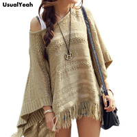 2015 Autumn Winter Women Sweater Female Batwing Stripes Fringed Pullovers Women Tops Poncho Shawl Cape Pull