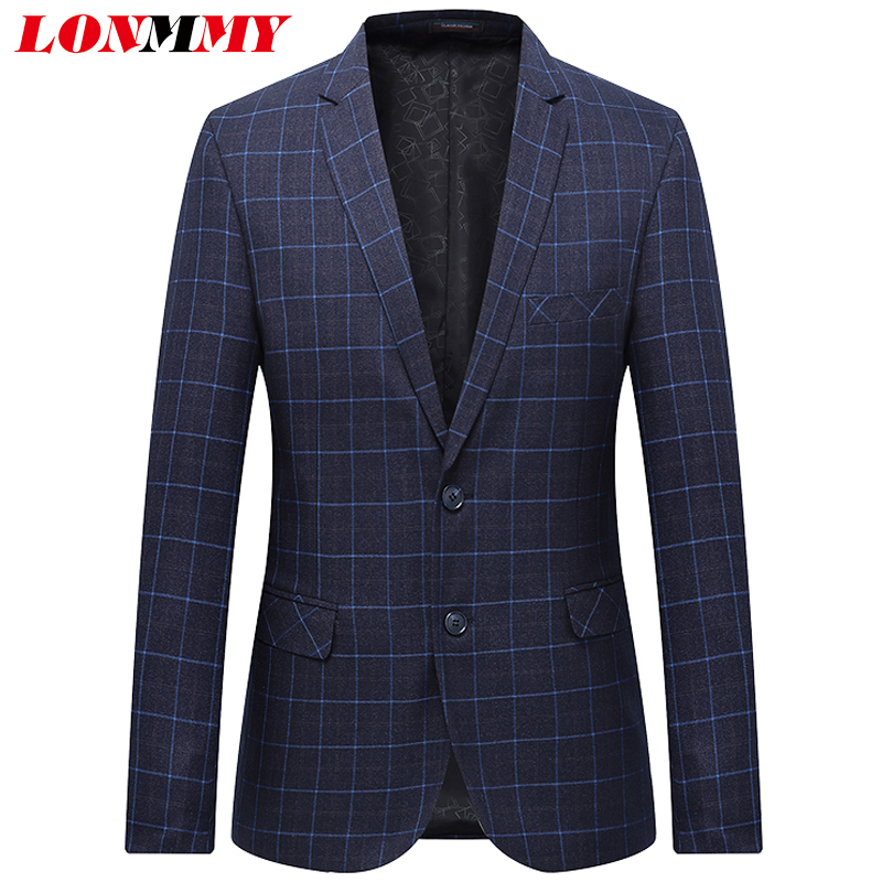 LONMMY Plus Size 6XL 7XL Mens Blazer Jacket Double-button Flip-over Men Suit Jacket Plaid Slim Fit Blue Navy New 2018 Spring