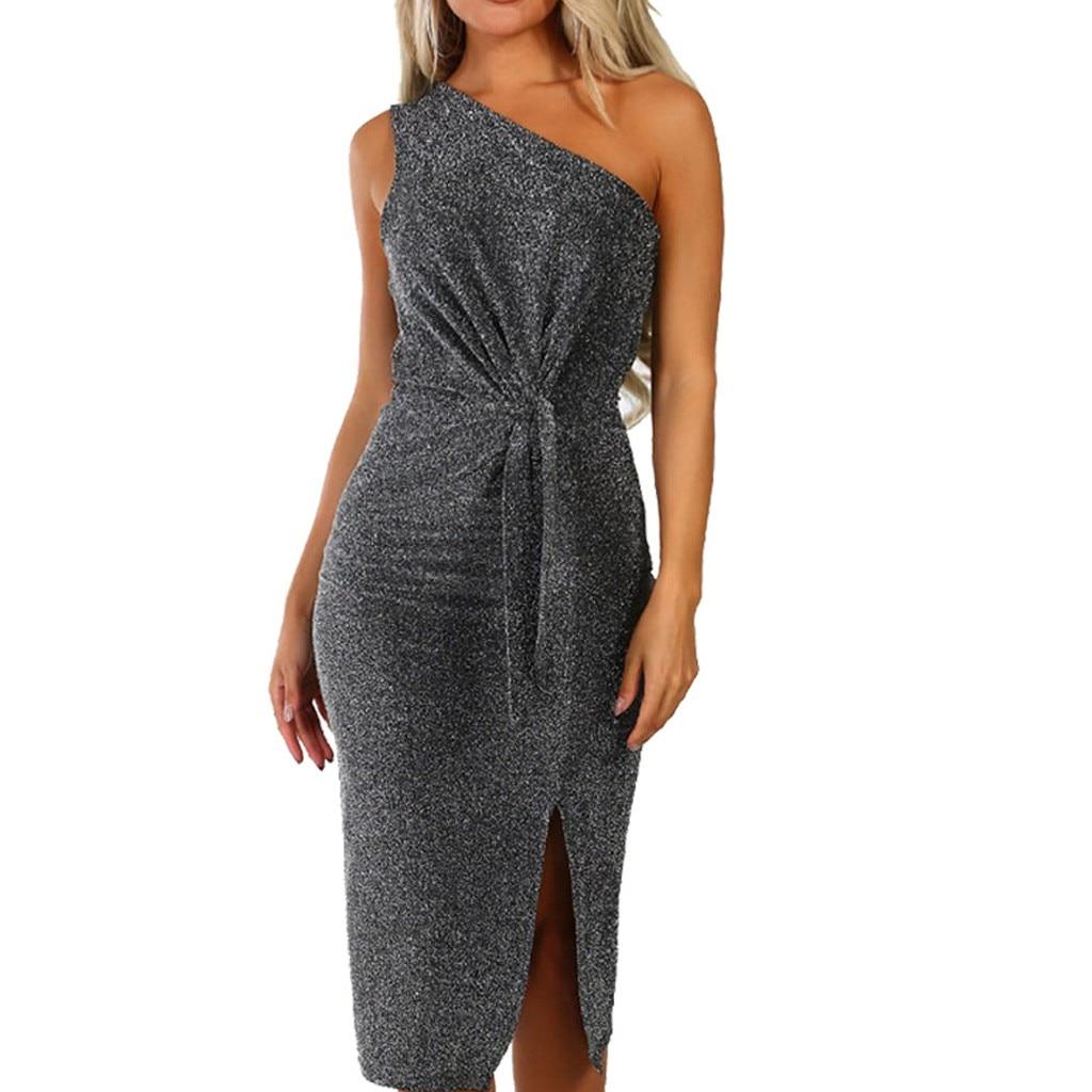 Летнее платье, сексуальное женское платье с длинным рукавом, блестящее, облегающее, с разрезом, вечернее платье средней длины, высокое качес...