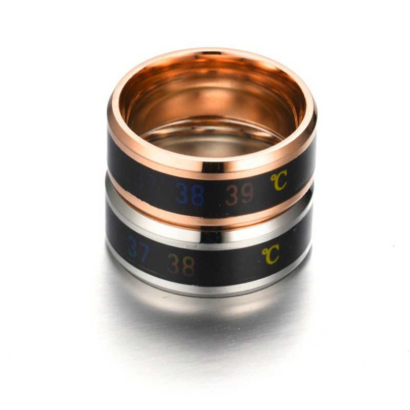 Anillo menTemperature anillo sensación inteligente anillos anillo de acero inoxidable anillos para las mujeres