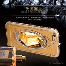 SHENGO Glitter Makeup Phone Case for iPhone 5 S 6 6s 7 Plus Silicone Luxury Mirror Rhinestone Diamond Transpa Stand Holder Cover