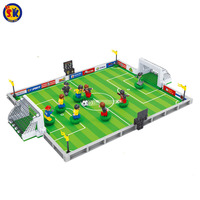 SK Small Football Field Building Blocks Model 251pcs Bricks With 9 Action Figures 6 Years Old