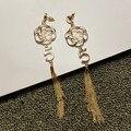 EH40 CC camellia flower tassel long New 2016 jewelry pendientes jewlery brincos boucles d'oreilles bijoux earrings for women