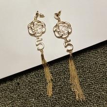 EH40 CC flor de la camelia de la borla larga Nuevo 2016 joyas de la joyería pendientes brincos boucles d'oreilles bijoux para mujeres