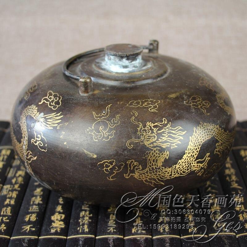 Chinese old bronzes, three dragon, eight treasure pot, warm hand potChinese old bronzes, three dragon, eight treasure pot, warm hand pot
