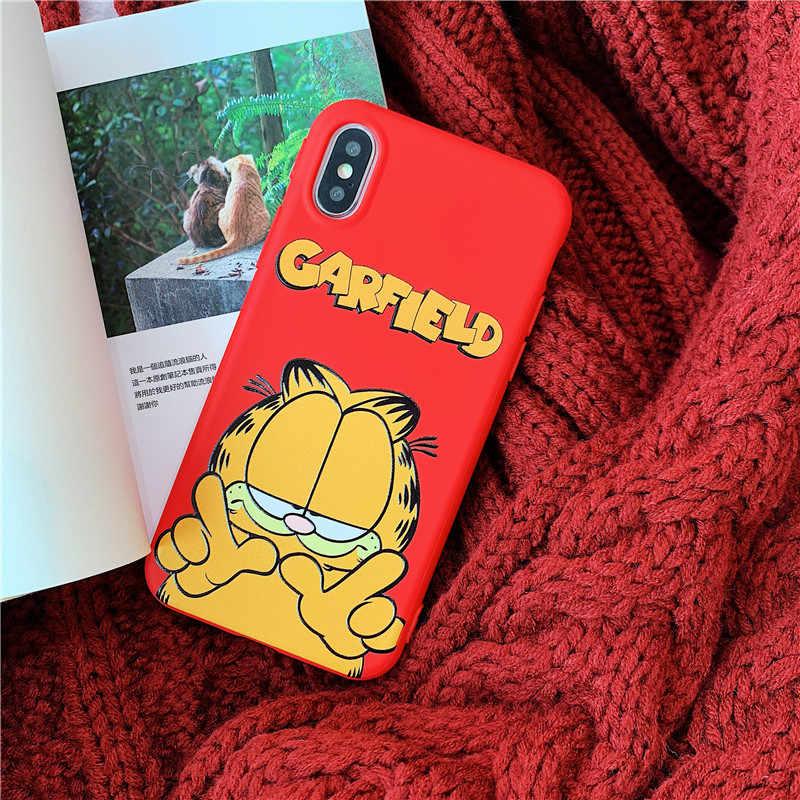 Mouplayca Para iphone 6 6s 7 8 plus X Xs Max XR casos de telefone Encantador dos desenhos animados Garfield alívio suave doce TPU tampa traseira
