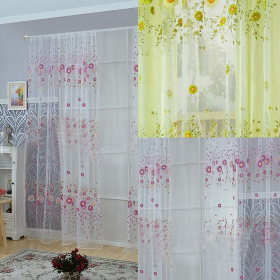 Curtains for bedroom 2016 - 2016 Curtains Sunflower Printed Voile Tulle Door Window Balcony Sheer Screening Curtain For Bedroom Living Room
