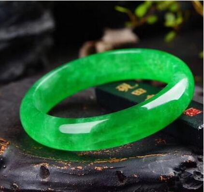 Certified 100/% Natural Light green Jade Bangle Bracelet Handmade 60mm