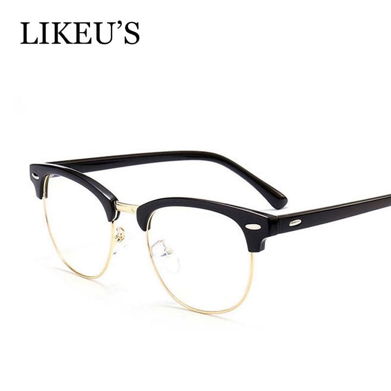 LIKEU'S 2018 Classic Rivet Half Frames Eyeglasses Vintage Retro Optica Eyeglasses Frame Men Women Clear Spectacle Eyewear oculos
