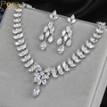 Luxury Bridal Wedding Costume Jewelry Accessories Leaf Shape CZ Diamond Big Oval Drop Necklace And Earrings Set For Women J154