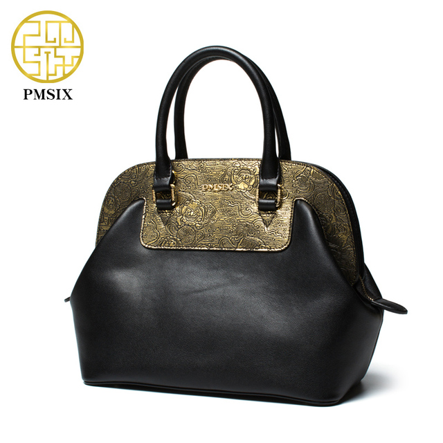 Pmsix 2017 Women Leather Bag Cattle Split Leather Gold Patchwork Ladies Shoulder Bags Tote Bag Female Retro Vintage Bags P120037