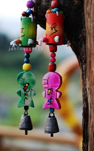 Handicrafted Drum + Puppet Wind Bell Windchime Lover Gift Home Decor 24pcs Gifts Free Shipping