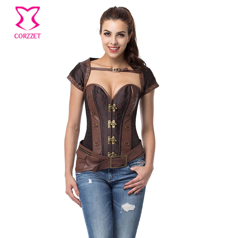 Vintage Brown Overbust Steampunk Corset Jacket Plus Size Corsets And Bustiers Gothic Korsett For Women Sexy Waist Trainer 6XL