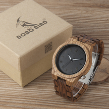 BOBO BIRD V-M30 Mens Watches Top Brand Luxury All Zebra Wood Quartz Watch for Male as Gift relojes hombre 2017