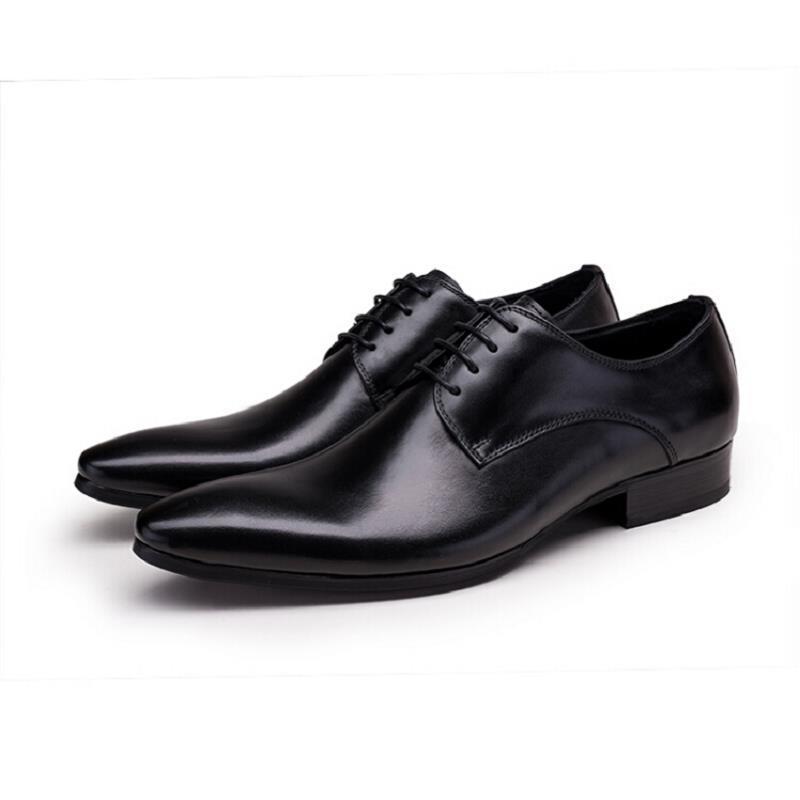 Sapatos Dedo marrom Preto Vestido De Couro Formais Schoenen Negócios Masculinos Casamento Apontado Preto Homens Northmarch Dos Do Pé Genuíno pASqOwxSE