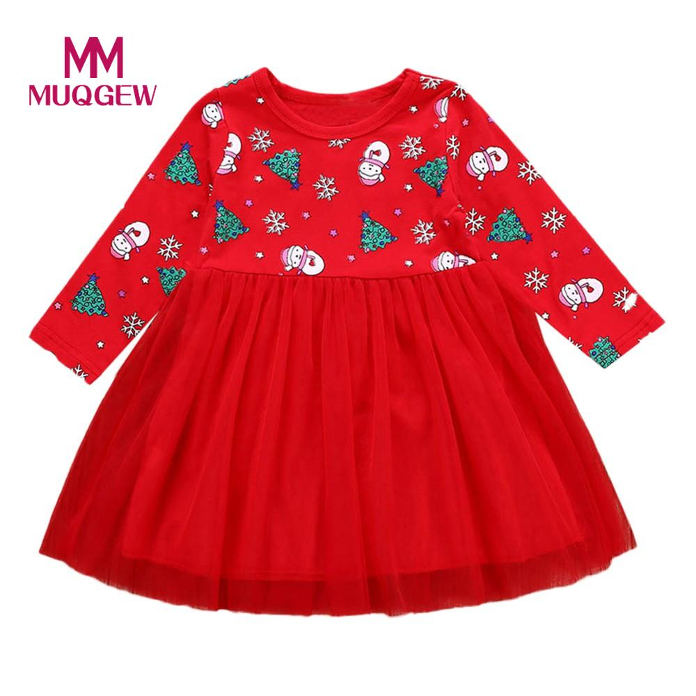 Xmas Gift Baby Kids Baby Girls Reindeer Printed Princess Dress Party Elastic Neck Cute Floral Butterfly Sleeve Dress 80-120cm Luggage & Bags