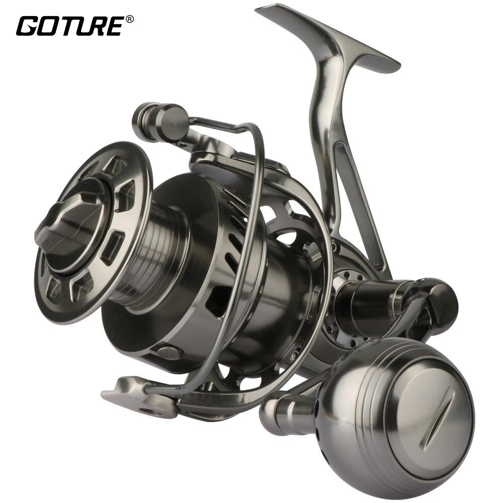 Goture II-Cast 100% entièrement en métal CNC usiné en eau salée moulinet de pêche longue coulée grand jeu bateau pêche à la traîne roue