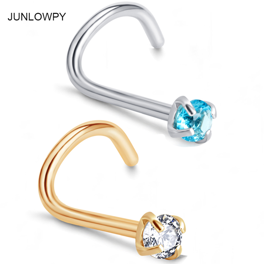 JUNLOWPY Piercing Nose Rings 20g Surgical Steel 3mm Gold Silver Cubic Zirconia Crystal Nose Stud Screw Body Ear Piercing Jewelry