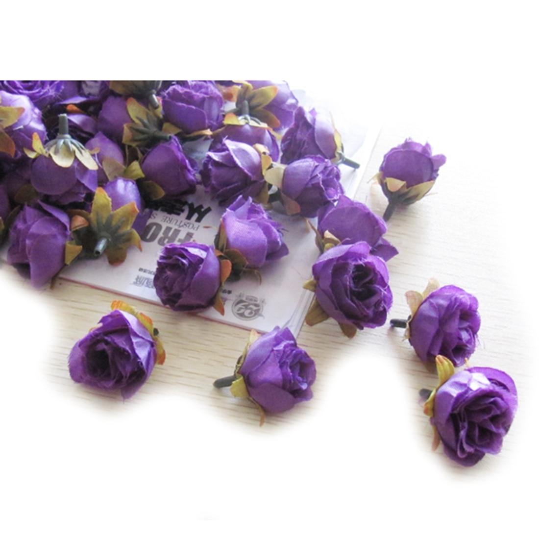 UESH-100pcs Multi Color Pequeño Té Rosa Bricolaje Rosa Flor de Seda - Para fiestas y celebraciones - foto 3