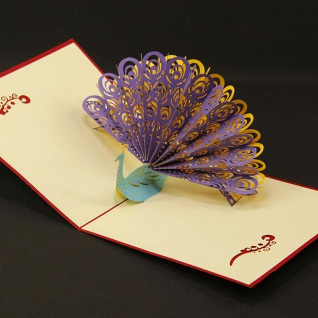 Novelty Handmade Folding Type 3d Pop Up Peacock Happy Birthday