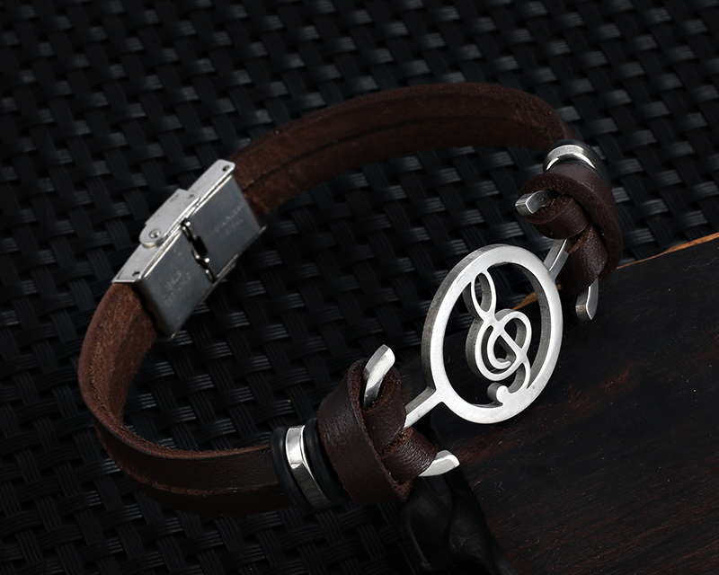 Stainless steel Music Leather Bracelets with Treble Clef IMG_0124