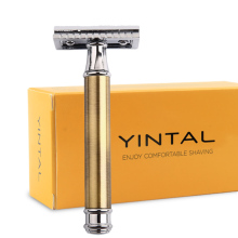 все цены на NEW Brass Double Edge  Razor Blade Replaceable Razors for Shaving Men Manual Shaver Mirror Blank Handle Classic Safety Razor  онлайн