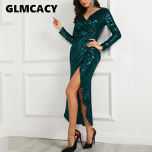 9fbbe389 Women Wrap Ruched Irregular Sequin Party Mermaid Dresses Sparkly Glitter  Plunge V Neck Sexy Split Long