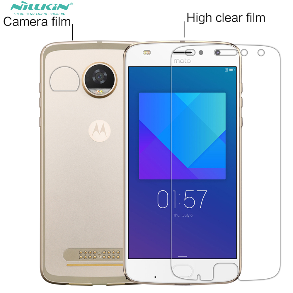 Nillkin Z2 Play protect film Transparent PET Glossy / Matte For Motorola moto Z2 play Screen Protector + Camera Film
