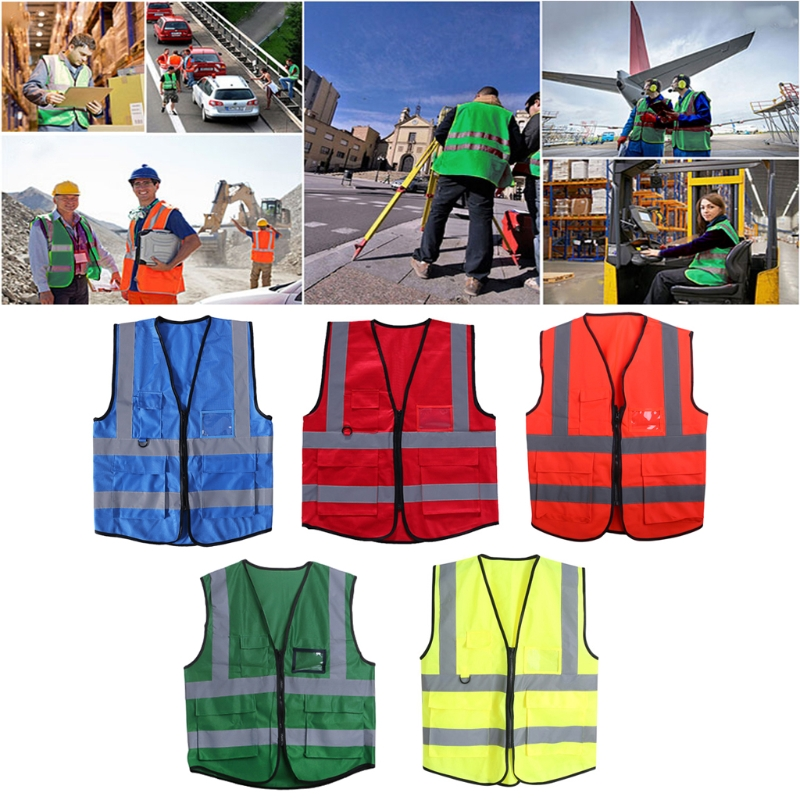 Hi-Vis Safety Vest With Zipper Reflective Jacket Security Waistcoat 5 PocketsHi-Vis Safety Vest With Zipper Reflective Jacket Security Waistcoat 5 Pockets