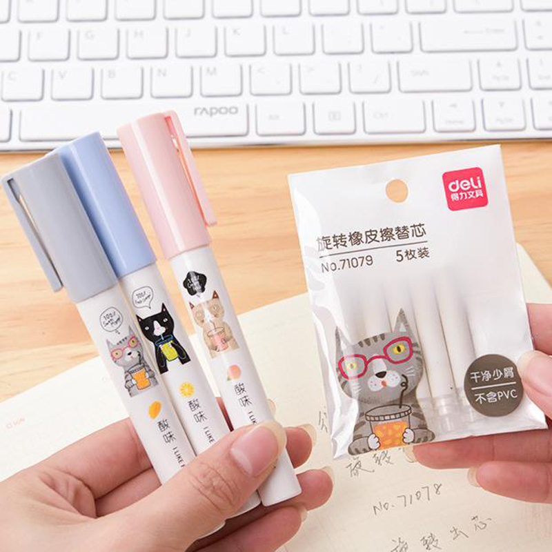 1 Pack Novelty Rotate Eraser Primary School Pen Pencil Rubber Pencil Erasers With Erasers Refills Correction Tools Stationery