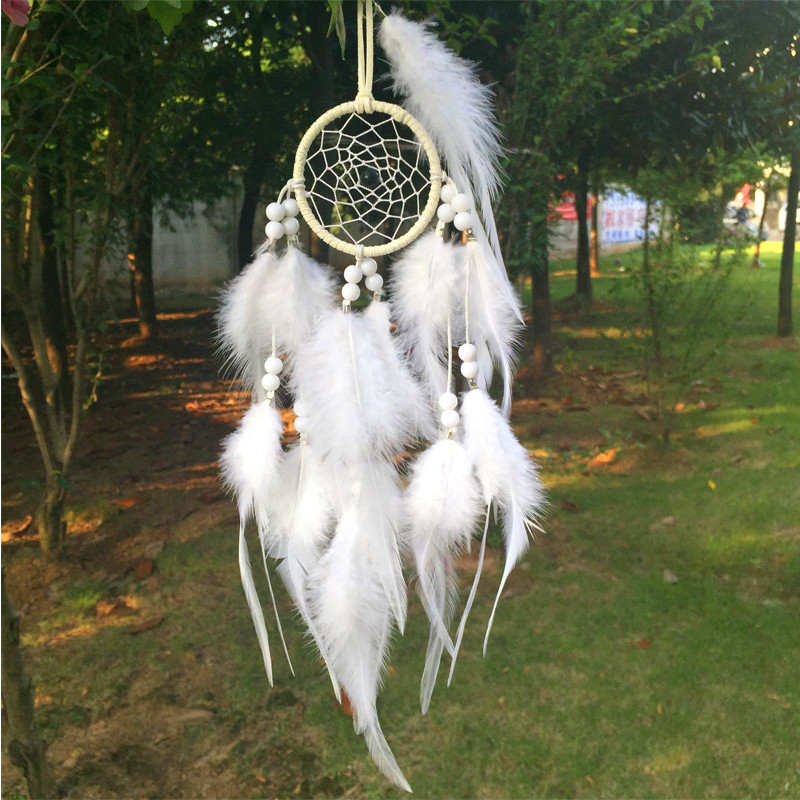 6*30CM Dream Catcher Home Decor, white Feather Dreamcatcher Wind Chimes Indian Style Mascot Car or Wall hanging Decoration