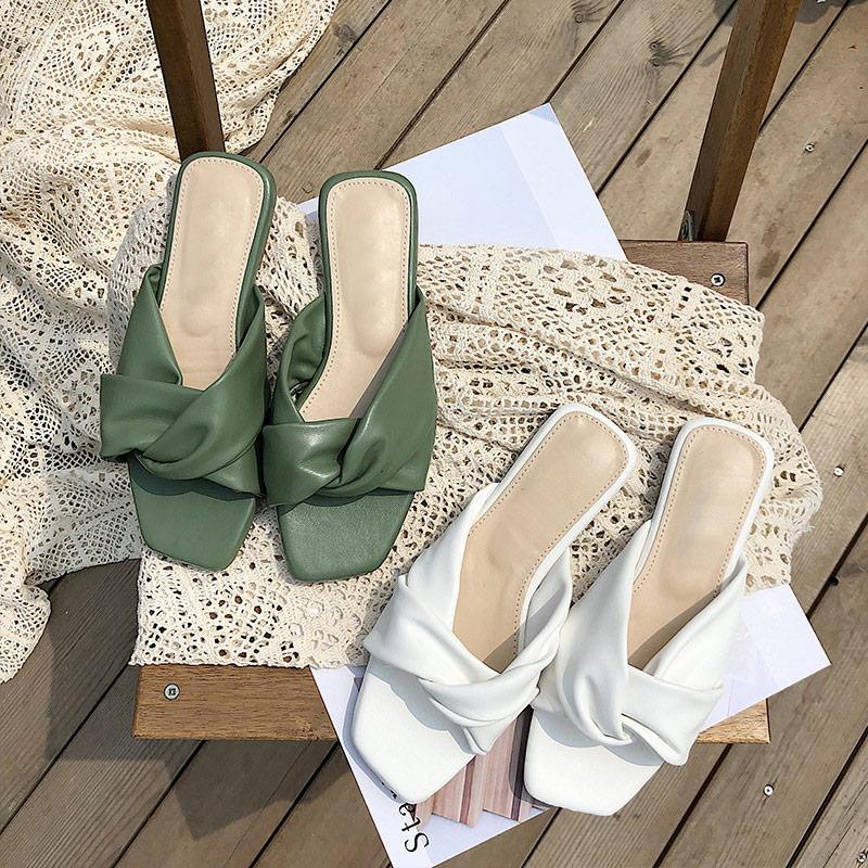 MONMOIRA Vintage Square Toe Bowtie Flat Sandals Women Open Toe Solid Slipper Sandals Women Summer Beach Women Shoes SWC0466