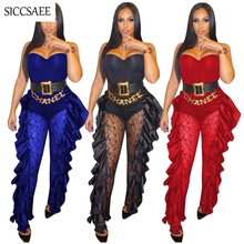 Lace Crochet Patchwork Bandage Jumpsuits For Women 2019 Backless Solid Sheer See Through Stringy Selvedge Ruffles Side Ruched