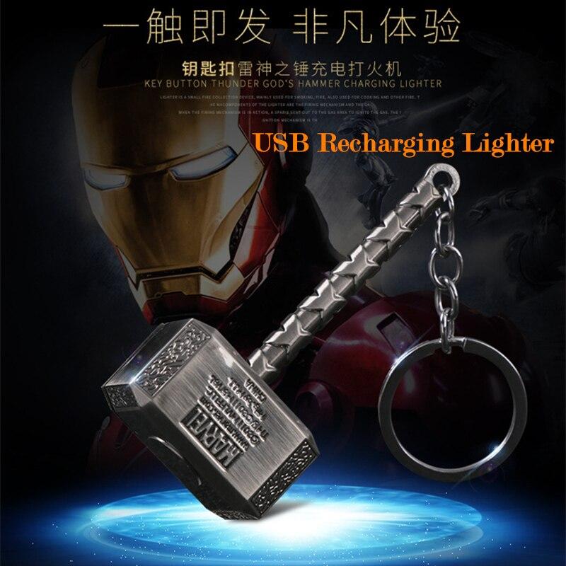 God Of Thunder Hammer Arc Lighter USB Electric Recharging Lighter Smoking Tools Flameless Cigarette Lighter Key Buckle Men Gifts