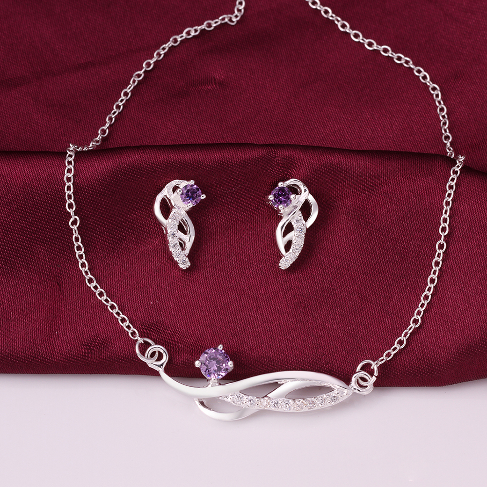 New Fashion Arrivals Wedding Jewelry Awesome Design: Fashion Leaf Crystal Luxury Jewelry Sets Purple Necklace