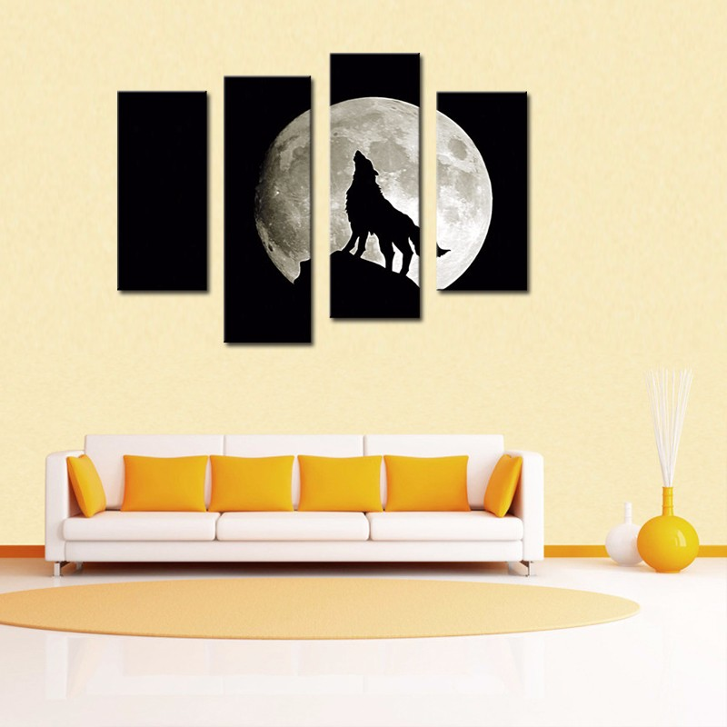 Wolf Moon Night Cascade Canvas Painting Wall Picture Large Wall ...