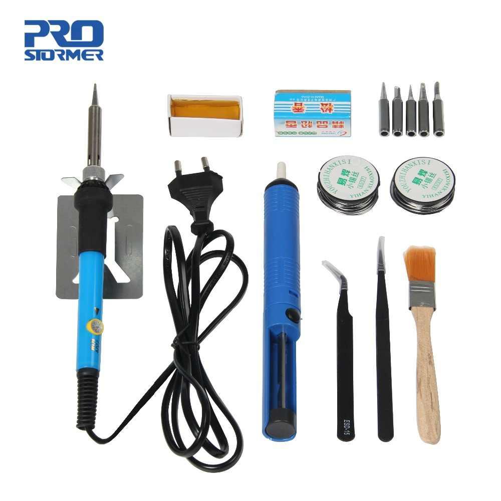 Prostormer 60W électrique fer manchon thermostat soudage réparation outil circuit imprimé chaleur crayon kit 110/220V