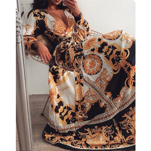 Retro Women Ladies Printed Long Dresses Long Sleeve V-neck Vintage Dress Party Gown High Waist Puff Sleeve Floor-Length Dresses 5