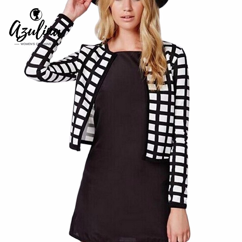 AZULINA Elegant Woman Gingham Jacket Spring Autumn Office Chs