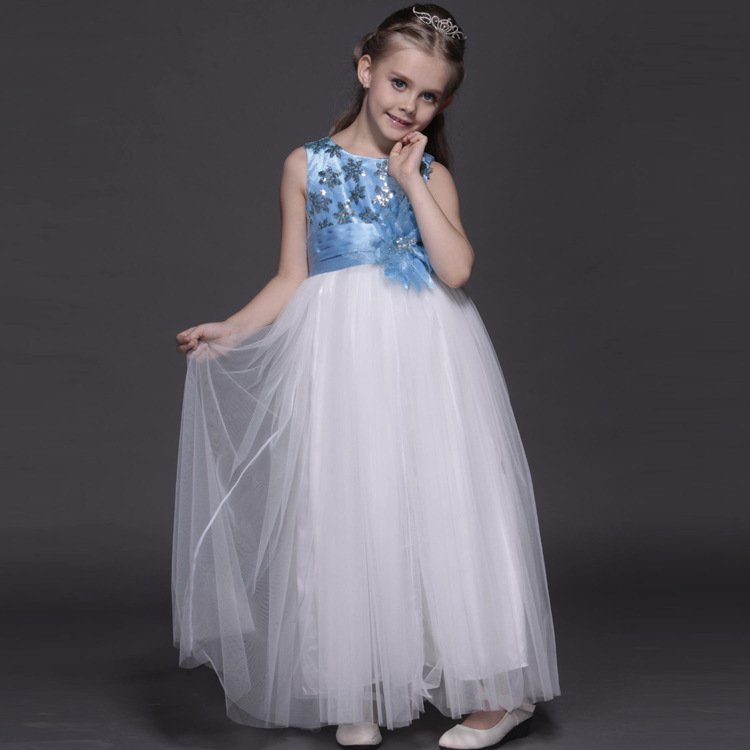 Kids clothes summer dress for girls 2017 princess elsa Costume long evening party dresses children flower tulle wedding vestido цепочка lotus цепочка
