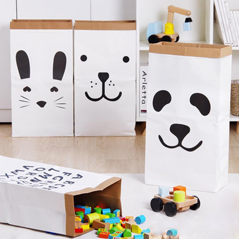 CHUWUJU Waterproof Kraft Paper Storage Bag for Childrens Room Decoration Laundry Pouch Basket Toys 32*41CM