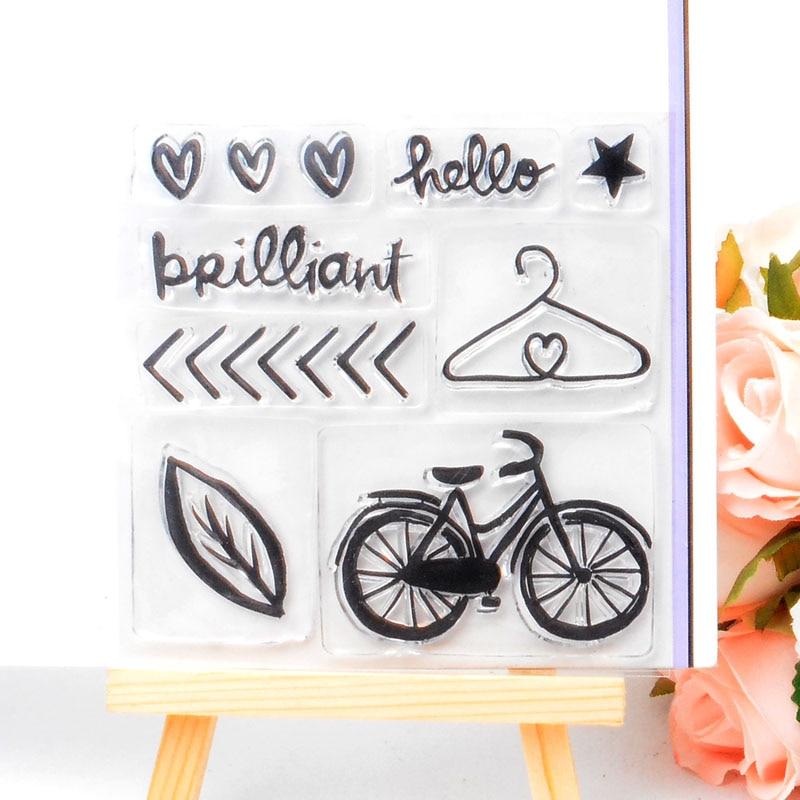 DECORA 1PCS Bicycle Design Silicone Transparent Clear Stamp DIY Scrapbooking Christmas Decoration Supplies