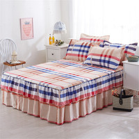 Plaid Cotton Double Bed Skirt Mattress Cover 150x200cm Queen Size Floral Printed Bed Skirts Bedspread Double Layers Bed Sheets